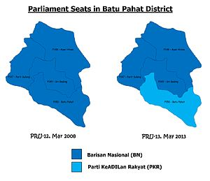 Batu Pahat District - Comparison of the parliamentary seat results in Batu Pahat district with PRU-12 (year 2008) and PRU-13 (year 2013)
