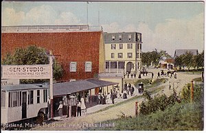 Vintage Postcard Depicting Gem Theater Boardwalk And The Peaks Island House Hotel On Maine