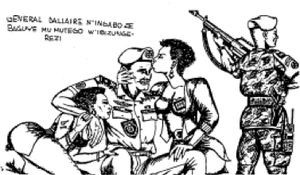 "Rape during the Rwandan Genocide - 1994 cartoon printed in Kangura and written in Kinyarwanda: ""General Dallaire and his army have fallen into the trap of Tutsi Femmes fatales."""