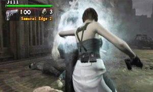 Resident Evil: The Umbrella Chronicles - Jill using her taser counterattack