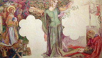 Oxford Union murals - Rossetti's design for Sir Lancelot's Vision of the Holy Grail
