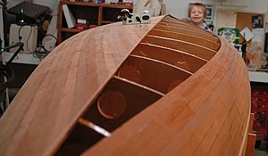 Strip-built - Cedar-strip canoe hull fabrication in process