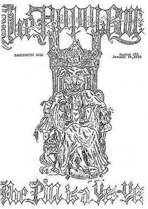Barrington Hall (Berkeley, California) - Cover art for The Barrington Bull, the periodical created at the Barrington Hall