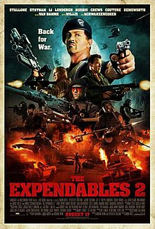 Movie poster with vehicles on fire and a soldier aiming a handgun