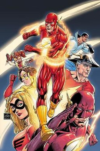 "Flash (comics) - Characters who have associated with the name ""The Flash"": Barry Allen at the center, and counterclockwise from upper left are Iris West II, Bart Allen, Jesse Chambers, Wally West, Jay Garrick, and Max Mercury. Art by Ethan Van Sciver."