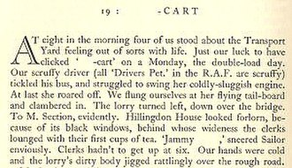 The Mint (book) - Start of chapter 19 'Shit-cart' showing blanks for expurgations in both chapter title and main text