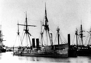 USS Idaho (1864) - USS laid up at the New York Navy Yard, probably in the Summer-Fall of 1866, after her unsuccessful trials.