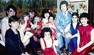 Fred West - The West family, pictured in the basement of their Cromwell Street home on the date of Anna Marie West's January 1984 marriage. Heather, aged 13 is depicted at the extreme right