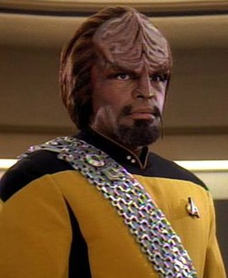 Worf - Worf aboard the USS Enterprise-D during season 7 set in 2370.