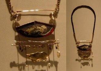 William Claude Harper - 'Ghost Oracle', gold, enamel, silver and pearls pendant brooch by William Harper, 1978, Metropolitan Museum of Art.