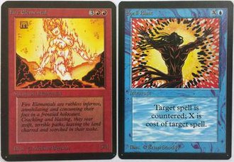 Limited Edition (Magic: The Gathering) - Card fronts of early Magic cards: Alpha on left, Beta on right.