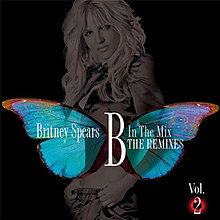 "Image of a woman in a grey tone, standing in front of a black background. A giant butterly extends in her bust, the words ""Britney Spears B In The Mix The Remixes"" are written above in white letters."