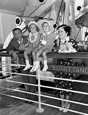 Gracie Allen - Gracie Allen, George Burns and children aboard Matson flagship ''Lurline'' just before they sailed for Hawaii, 1938