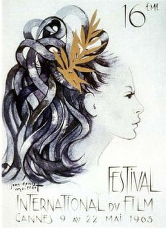 1963 Cannes Film Festival - Official poster of the 16th Cannes Film Festival, an original illustration by Jean-Denis Maillart.