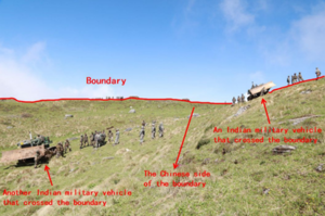 2017 China–India border standoff - Photograph of Indian soldiers on Doklam Plateau taken by Chinese soldiers - Annotations by the Chinese Foreign Ministry