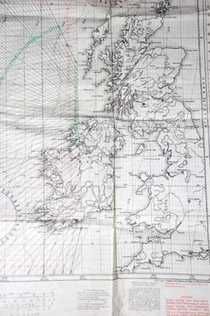 Sonne (navigation) - This portion of a 1946 UK Consol map illustrates the basic concept of the Sonne system. Navigators would determine their rough location using any form of navigation, then tune in the Consol station and start counting the dots or dashes they heard. They would then look up this number on the chart, selecting the line that was closest to their estimated location. The green lines indicate the bearings from the new Bush Mills station in Northern Ireland, red from the Stavanger station in Norway.