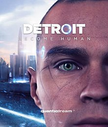 Close-up of a human-like android's face, with the skyline of Detroit in the background