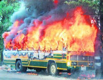 Pleasant Stay hotel case - Picture of the burning bus