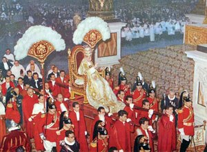Sedia gestatoria - Pope Pius XII is carried through St. Peter's Basilica on a sedia gestatoria.