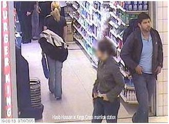 7 July 2005 London bombings - Hasib Hussain, who detonated the bus bomb in Tavistock Square, is captured on CCTV leaving a Boots store on the King's Cross station concourse at 9 am on 7 July 2005