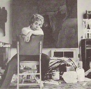 Studio - Artist Jane Frank in her studio, 1960s or 1970s. The studio of a contemporary mixed media artist can be quite a messy affair.