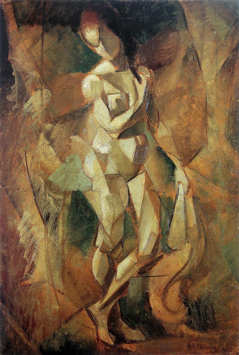 """Jean Metzinger, 1911, Nu (Nu debout), oil on carton, 52 x 35 cm. Reproduced in Du """"Cubisme"""", 1912"""