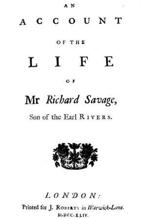 1744 in poetry - Title page of Life of Mr Richard Savage by Samuel Johnson