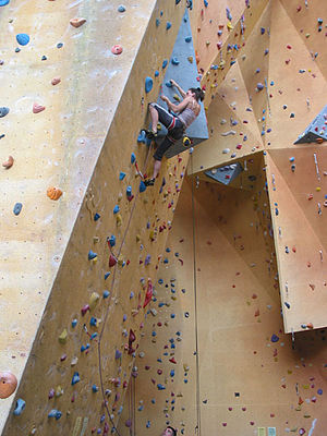Lead climbing - Image: Lead climb indoor 001