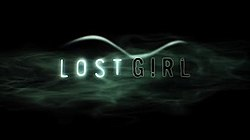 "Black background with slender sans-serif words ""LOST GIRL"" amid curving wisps of white fog resembling long hair and the more solid curve of a female form laying on its side."