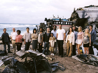 Lost (season 1) - From left to right: Sawyer, Locke, Rose, Jin, Sun, Sayid, Charlie, Walt, Michael, Jack, Kate, Hurley, Shannon, Claire and Boone