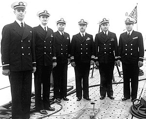 Marion Frederic Ramírez de Arellano - Then-Lt. Ramirez de Arellano (third from the left) posing with his fellow officers during USS Skate's (SS-305) commissioning on April 15, 1943.