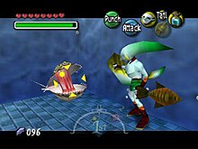 A fish-like humanoid faces an oyster-like monster, which is surrounded by a crosshair. Around the image are icons representing time passed, the player's health, magic, money, items and possible actions.