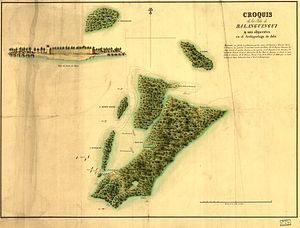 Spanish expedition to Balanguingui - Map of Balanguingui island, 1848.