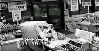 Murder of Pete Shrum - Security camera footage from inside the store moments before the murder