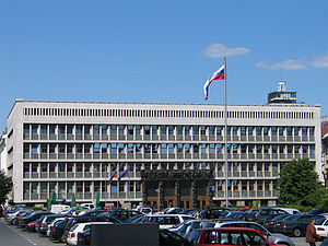 National Assembly Building of Slovenia - A view of the building from across Republic Square