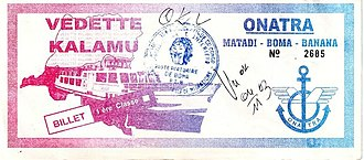 Office National des Transports (Congo) - First Class ticket for the ferry Kalamu, November 2003