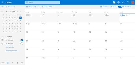 Outlook Calendar screenshot