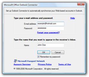 Microsoft Outlook - Hotmail Connector setup screen