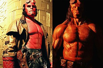 Hellboy - Ron Perlman and David Harbour as Hellboy.