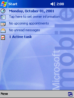 Windows Mobile - Pocket PC 2002 Today Screen.