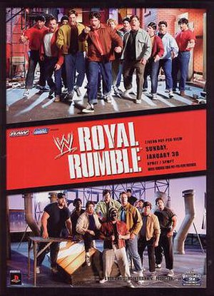 Royal Rumble (2005) - Promotional poster featuring various WWE wrestlers and referencing West Side Story.