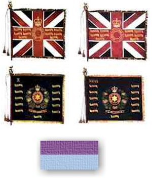 Royal South Australia Regiment - Colours of the 10th Battalion and 27th Battalion RSAR and hat colour patch