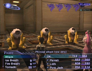 Shin Megami Tensei: Nocturne - A battle in Shin Megami Tensei: Nocturne where the player is using the main character (now under control) and a party of three demons. The blue icons from the top right indicate how many turns the players have left.