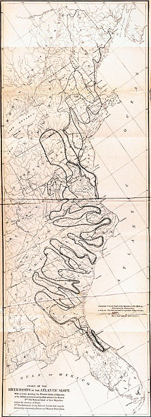 Shad fishing - Old map of the east coast spawning grounds