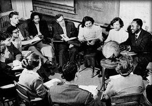 New York City College of Technology - Social science class with Professor John Graves, at globe, who became executive director of the institute's Franklin Hall Annex in February 1950.
