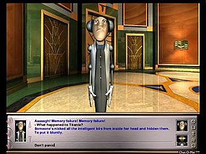 Starship Titanic - Screenshot showing the PET interface in the bottom; here, the player speaks with Fentible using the Chat-O-Mat text parser