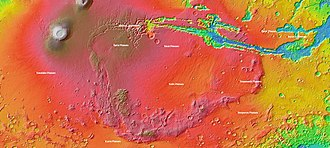 "Tharsis - MOLA topography of the Thaumasia Plateau (Syria-Thaumasia block) and southern Tharsis. The volcano shown at the left is Arsia Mons. Valles Marineris extends across the northern edge. The areas in brown have the highest elevations on the Tharsis Plateau and may be considered the ""summit region"" of the Tharsis bulge."