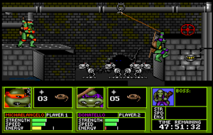 Teenage Mutant Ninja Turtles: Manhattan Missions - Screenshot of the game's two-player mode. Here, Donatello and Michaelangelo take on Mousers in the Manhattan sewers.