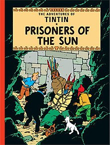 Tintin, Snowy, Captain Haddock, and Zorrino come across Inca mummies in an underground tomb.