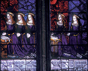 "Catherine of York - The five daughters of King Edward IV (1461–1483) and Elizabeth Woodville, (left to right): Elizabeth, Cecily, Anne, Catherine, and Mary, all ""Princesses of York"". Royal Window, Northwest Transept, Canterbury Cathedral"